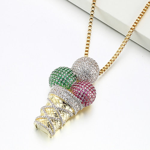 Ice Cream Pendant Charm For Women Punk Men Pendants Necklaces Red Green White CZ Bling Bling Party Jewelry