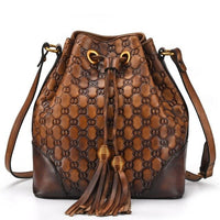 Johnature 2020 New Women's Bags Bucket Genuine Leather Vintage Letter String Cowhide Shoulder & Crossbody Bags Fashion Bag