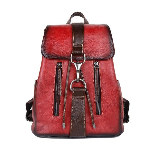 Johnature 2021 New Genuine Leather Bagpack Women Retro First Layer Cowhide Travel Backpack With Strap Buckle Large Capacity Bag