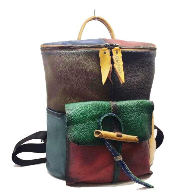 Johnature Hand Painted 2021 New First Layer Cow Leather Backpack Leisure Large Capacity Women Bag Retro High Quality Travel Bags