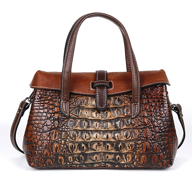 Johnature Handmade Embossing Genuine Leather Luxury Handbags Women Bags Designer 2020 New High Quality Shoulder&Crossbody Bags
