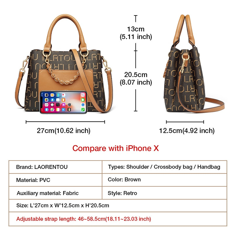 LAORENTOU Lady's PVC Leather Handbags Office Women Fall Winter Bag Commuter Style Shoulder Crossbody Bags Large Capacity Totes