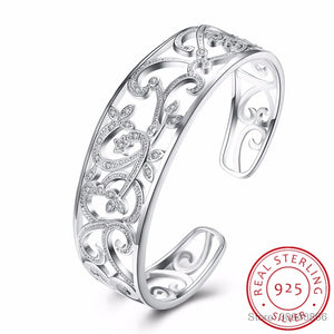 LEKANI 925 Sterling Silver Hollow Branch Bracelets & Bangles For Women High Quality Elegant Lady Gift 925 Silver Fine jewelry