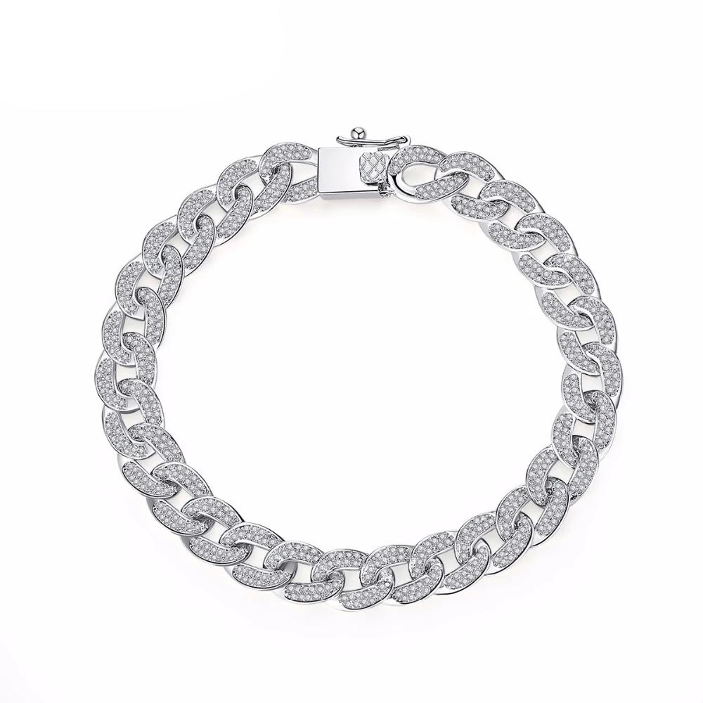LUOTEEMI AAA Cubic Zirconia Paved Delicate Hip Hop Curb Cuban Link Chain Bracelet For Women Luxury Exquisite Party Jewelry Gifts