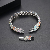 LUOTEEMI Wholesale Leaf-Shape Bracelet for Women Girls Wedding Banquet White or Colorful Cubic Zircon Fashion Jewelry Bijoux