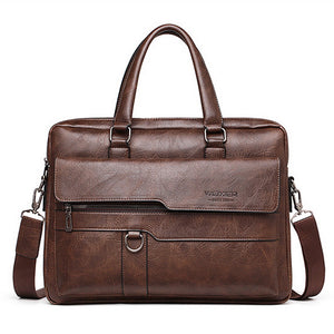 Laamei 2020 Retro Men Solid Color Bag Faux Leather Briefcase Large Capacity Tote Shoulder Bag Casual Business Laptop Briefcase