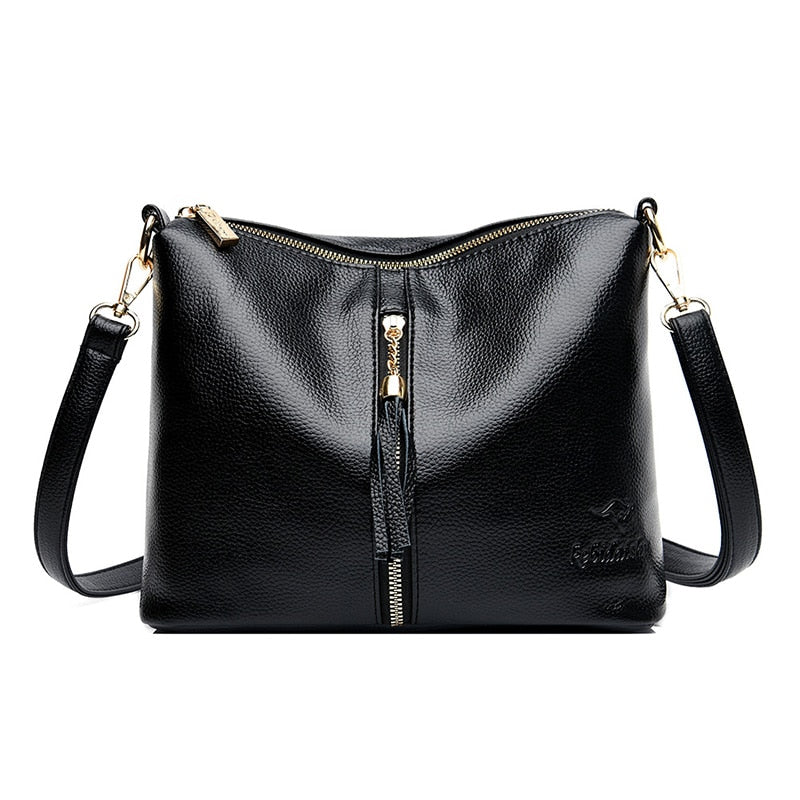 Lady New Style Black Red Purple Dark Blue Shoulder Bag Fashion Simple Pure Color Handbag Womens All-match Messenger Bag