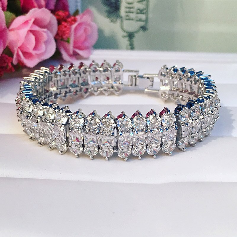 Luxurious zircon bracelet,3 line clear crystal fashion style bangle, Zirconia for woman and Girl
