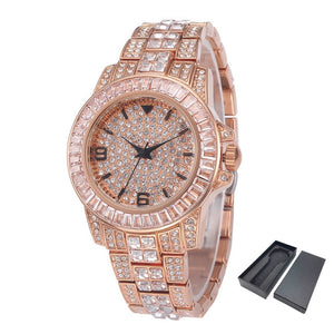 Luxury Bling Diamond Stones Men's Watch 18k Gold Plated Ice out Quartz Iced Wrist Watches for Men Male Waterproof Wristwatch