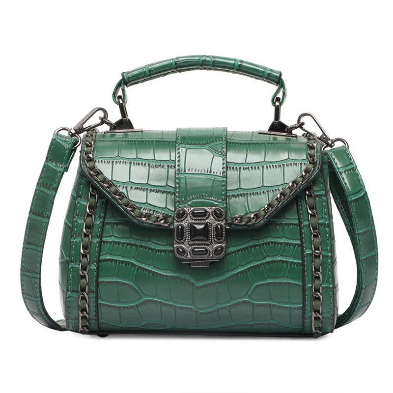 Luxury Handbags Alligator Crossbody bags for Women 2018 Ladies PU Leather Bag Female Small Tote Bag Green Briefcase