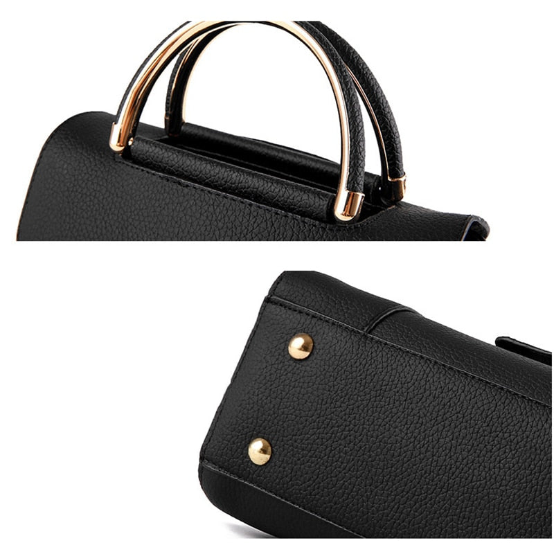 Luxury Handbags Women Bags Designer Leather Shoulder Bag Metal Handles Small Crossbody Bags For Women 2020 Fashion Black Bag sac
