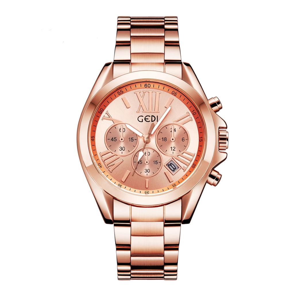 Luxury Rose Gold Women Casual Watch Waterproof Calendar Unique Quartz Business Dress Watches for Female Golden Lady Clock