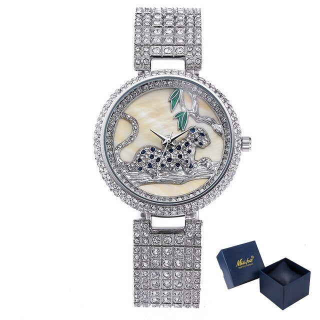 Luxury Top Quality Crystal Watch Women 3D Leopard Dial Steel Gold Diamond Ice Iced Out Watch for Women Ladies Dress Watch Gift