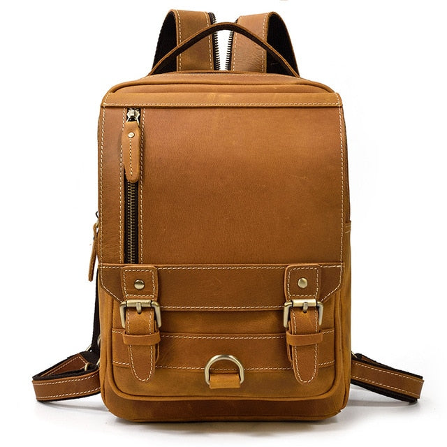 MAHEU Genuine Leather Chest Bag Backpack Dual Use Bagpack Crazy Horse Leather Daypack Multifunction Men Bags Genuine Leather Bag