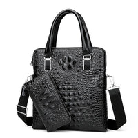 Male leather briefcase Men Vertical Bag split Leather Business Messenger Crossbody Bag male crocodile pattern tote bag handbag