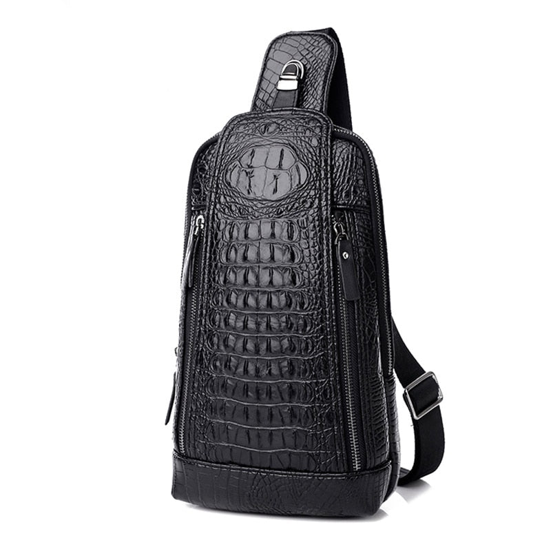 Men Leather Crocodiles Pattern Chest Bag Sling Crossbody Bags Adjustable Strap Earphone Hole d88