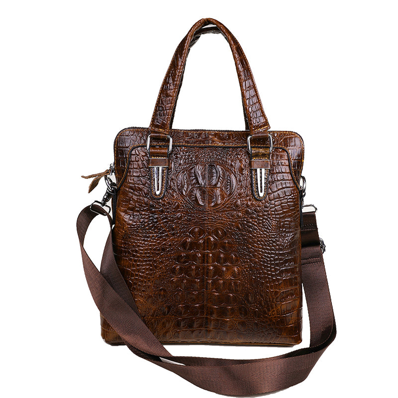 Men briefcase Crocodile pattern genuine leather men's business bag male totes bag handbag shoulder bag slung leather men's bag