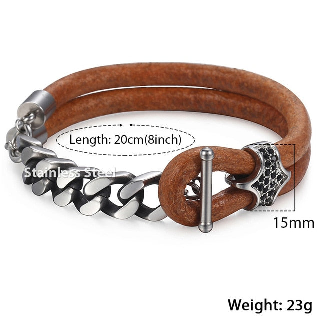 Men's Black Leather Bracelet Gunmetal Cuban Link Chain Stainless Steel Bracelet Fashion Male Jewelry Gifts for Men DLB75