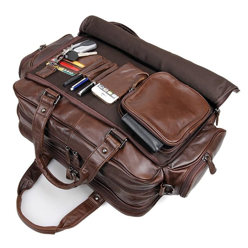 "Men's genuine leather briefcase 16"" Big real leather laptop tote bag Cow leather business bag double layer messenger bag"