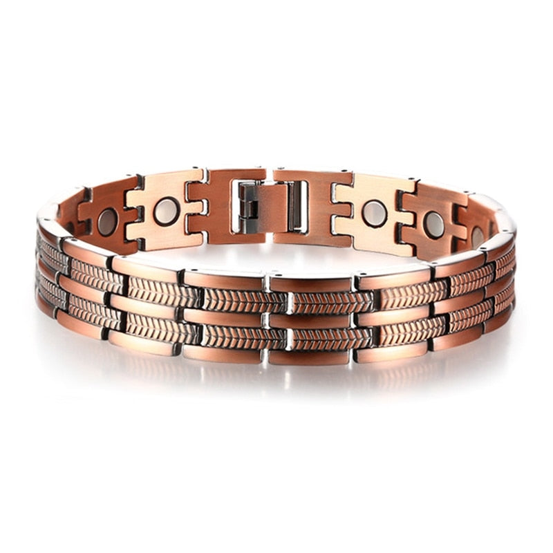 Mens Elegant Pure Copper Magnetic Therapy Link Bracelet Pain Relief for Arthritis and Carpal Tunnel Male Jewelry