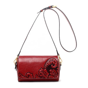 Mschastiye new arrival Casual Genuine Leather Women Messenger Bag Women black/red Vintage Embossing Cow Leather Crossbody Bag