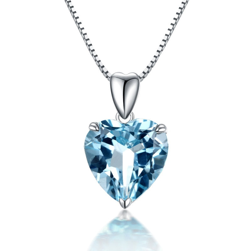 Natural Blue Topaz Pendant 925 Sterling Silver Color Necklace For Women Heart Blue Crystal Gemstone Pendant Necklace Birthday