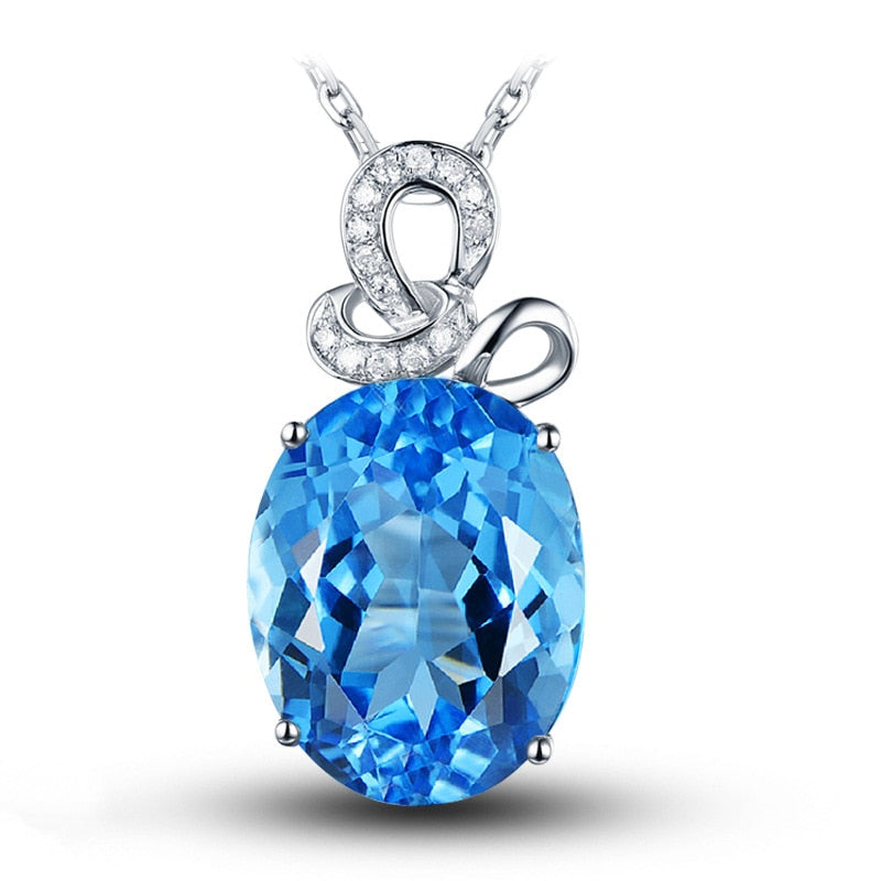 Natural Blue Topaz Pendant Necklace For Women 925 Sterling Silver Color AA Zircon Sapphire Gemstone Pendant Fine Jewelry Wedding