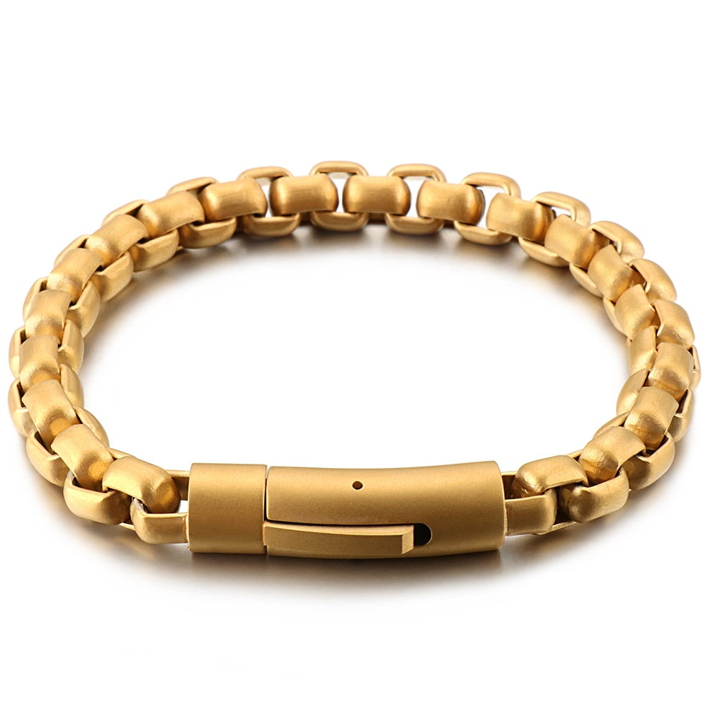 Never Fade Gold Stainless Steel Men Bracelet Male Vintage 8MM Thick Chain Link Mens Bracelets Bangles Metal Jewelry Dropshipping