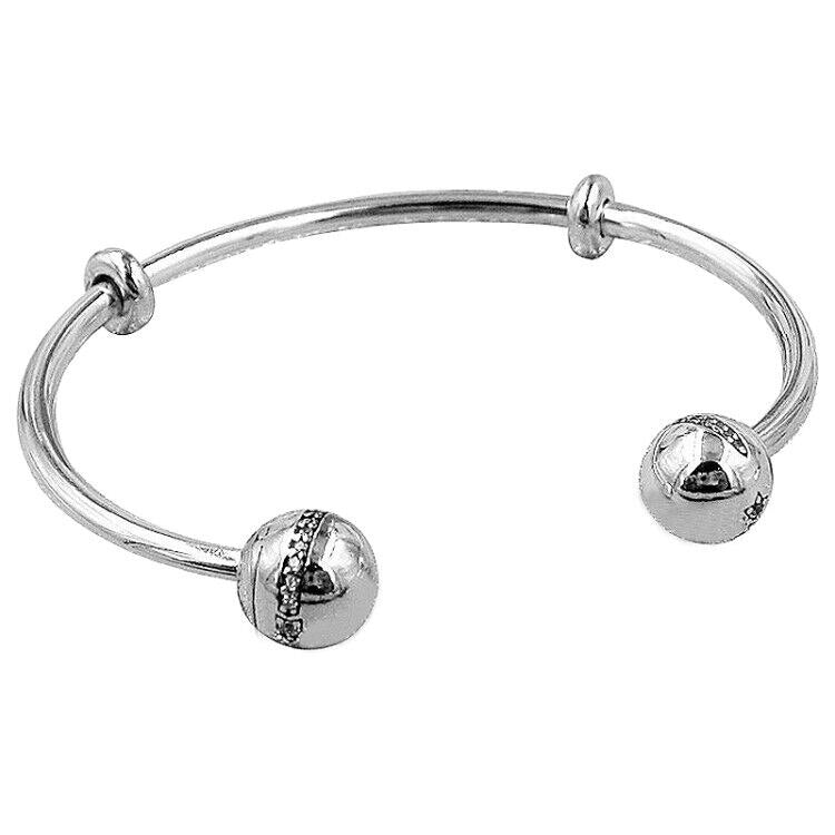 New 925 Sterling Silver Bangle MOMENTS Pave Celestial Star With Crystal Open Bracelet Bangle Fit Bead Charm Diy Fine Jewelry