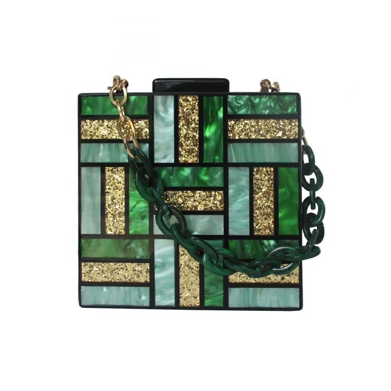 New Fashion Women Evening Bag Cute Green Gold Acrylic Chain Handbags Luxury Square Party Wedding Bags Casual Vintage Box Clutch