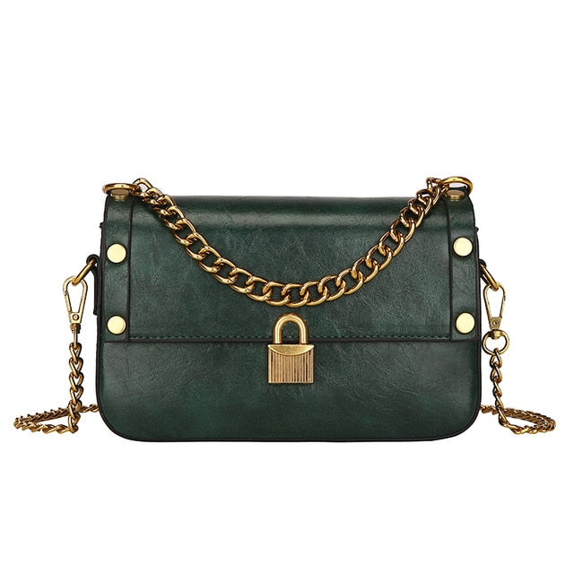 New Luxury Handbags Women Bags Designer Chains Lock Shoulder Bag Fashion Flap Simple Solid Spring Crossbody Bag For Women 2020