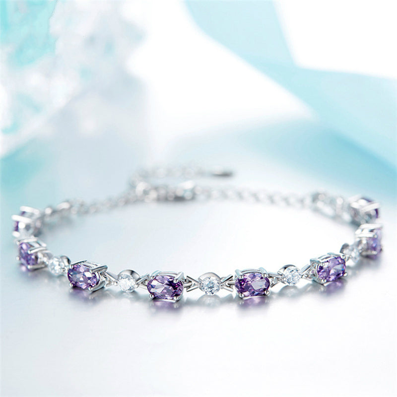 New Luxury Shiny Austria Crystal Zircon Bracelets Women Silver Purple Color Bangle Collier Femme Bridal Wedding Jewelry