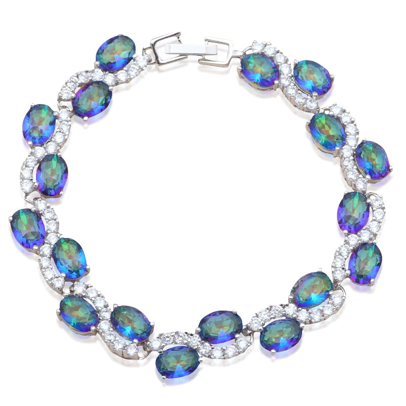Nobby Zirconia Inlay Wedding Accessories for Bride Multicolor Crystal Silver plated Charm Bracelets Fashion Jewelry TB895