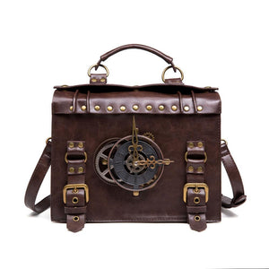 Norbinus Steampunk Single Shoulder Bags Vintage Women Handbags Gothic Messenger Crossbody Bag Ladies Rivet Top-Handle Bags Pack