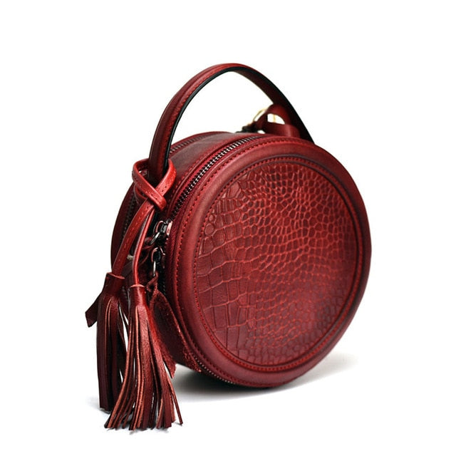 PNDME fashion vintage genuine leather ladies small round box handbag cowhide women's crocodile pattern shoulder messenger bags