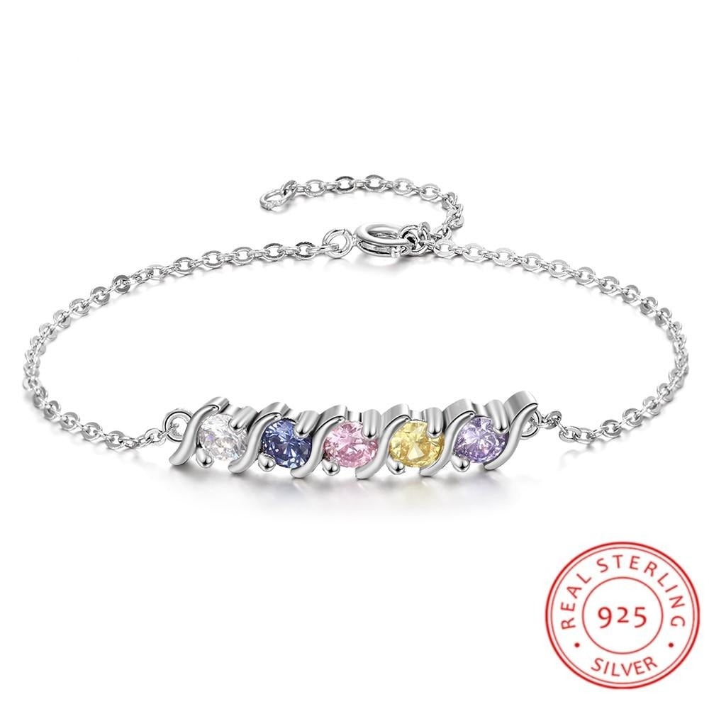 Personalized 925 Sterling Silver Bracelet with 5 Birthstone Round Cubic Zirconia Charm Bracelets Fine Jewelry (Lam Hub Fong)