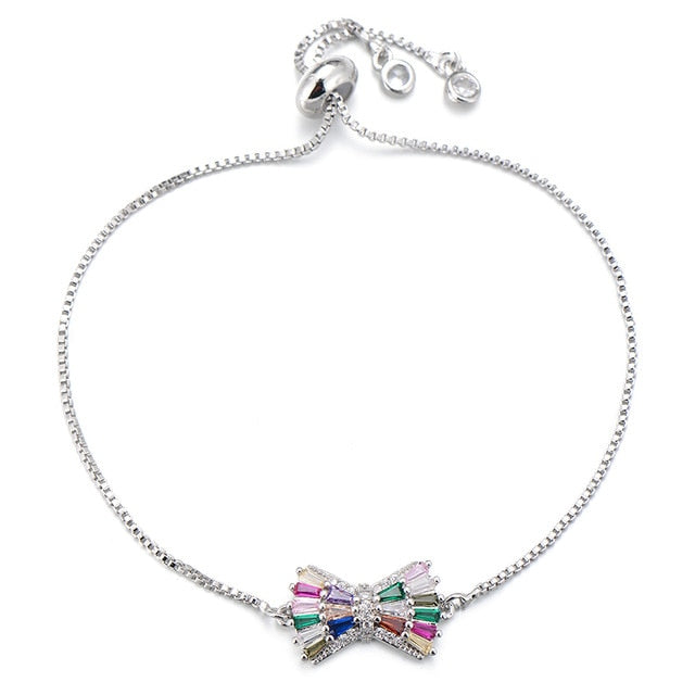 Pipitree Multicolor Princess Cut Cubic Zirconia Bowknot Charm Bracelet Wedding Jewelry Slider Chain Women Bracelet Bangle Gift