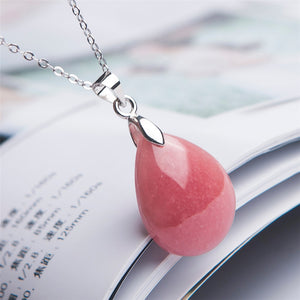 Precious Natural Ice Rhodochrosite Gems Pendant Water Drop Crystal Bead Woman Lady Fashion Natural Stone Pendant 22x16x6mm