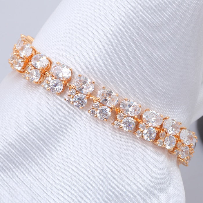 ROLILASON AAA Zirconia Huge Gold color Bracelets White Crystal Design Health Nickel Lead free Fashion jewelry TB407