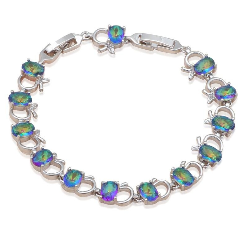 ROLILASON Brand plants Design mystic Multicolor Zircon Bracelets for Ladies Silver Australia Zirconia Fashion jewelry TB879