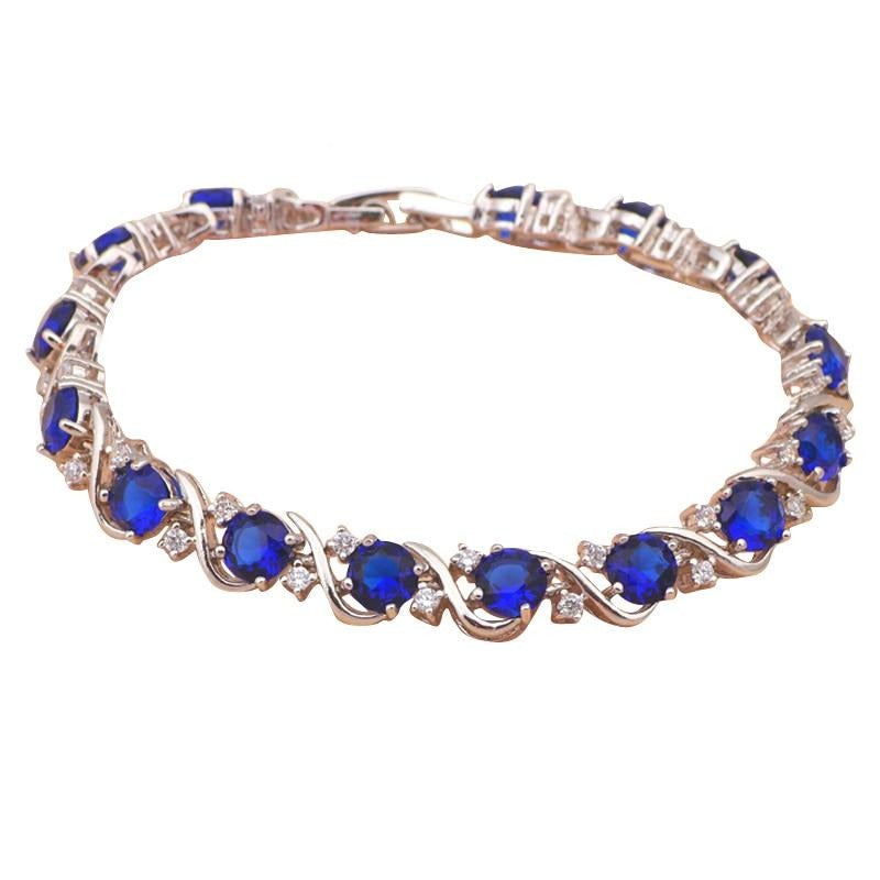 ROLILASON Vintage style Silver Navy blue crystal Bracelets for women Health Nickel Lead free fashion jewelry TB436