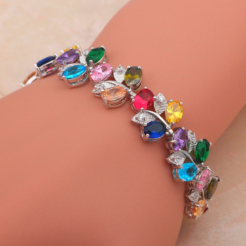 ROLILASON holiday vibe plants design color zircon silver bracelet vacation items Health Fashion jewelry TB428