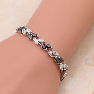 ROLILASON mother's day Classic black Crystal Leaves design charm bracelets Health Fashion jewelry TB445 free shipping