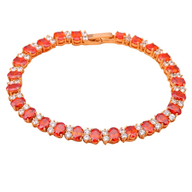 ROLILASON vintage Red Garnet Crystal AAA Zirconia Gold color Bracelets Health Nickel Lead free Fashion jewelry TB416