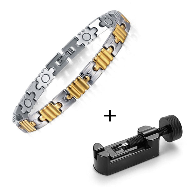 RainSo Health Gold Bracelets for Women Magnetic Bracelet & Bangle Super Magnetotherapy Bio Energy Jewelry for Arthritis