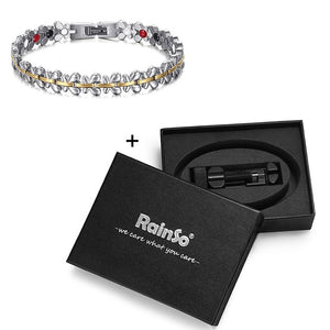 RainSo Healthy Magnetic Bracelet Women Jewelry High Power Therapy Germanium Bracelets & Bangles Drop-Ship Hologram Wristband