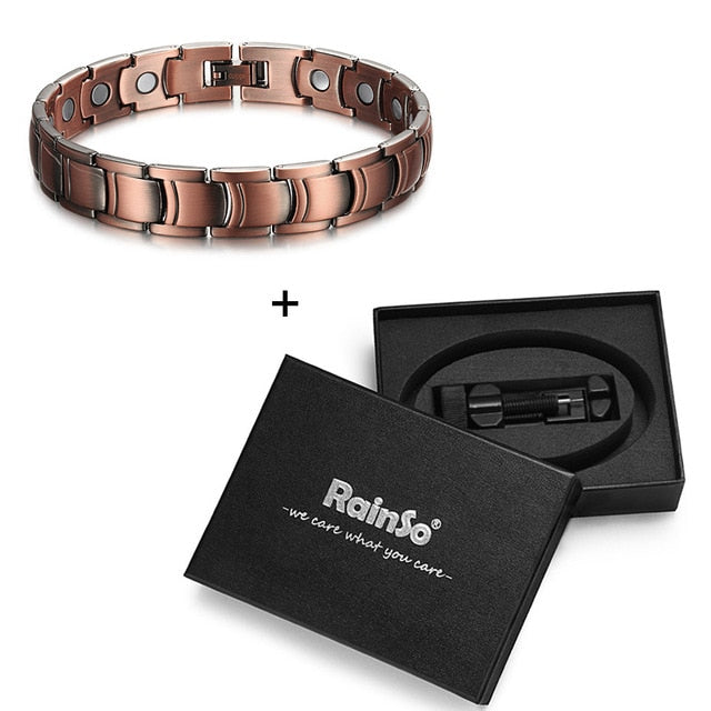 RainSo Men's Copper Magnetic Therapy Bracelets & Bangles for Arthritis Bio Energy Healing Female Jewelry Wristbands Adjustable