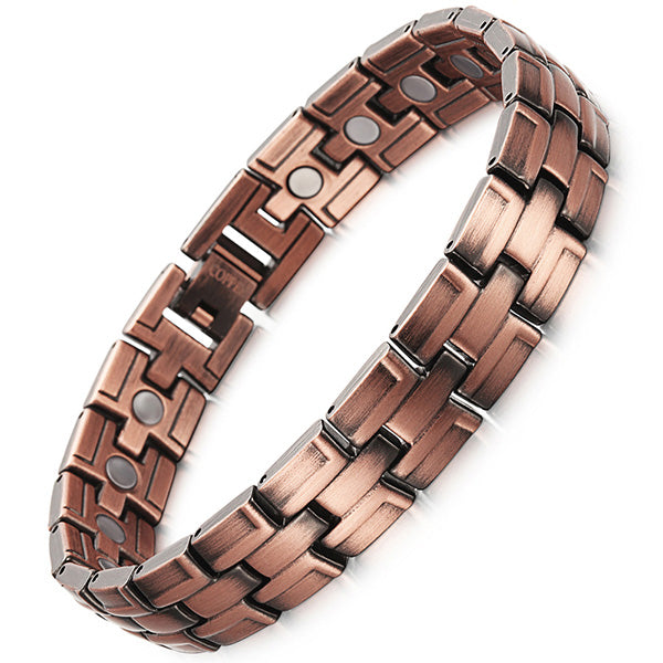 RainSo Red Copper Magnetic Bracelet for Men Women 2 Row Magnet Healthy Bio Energy Bracelets & Bangles 2019 Father's Day Gift