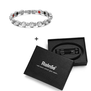 RainSo Silver Crystal Bracelets & Bangles for Women Energy Therapy Germanium Magnetic Bracelet Rhinestone Jewelry Accessories
