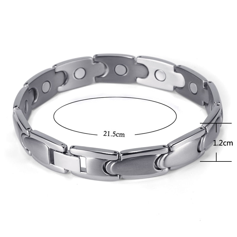 RainSo Trendy Health Care Silver Magnetic Titanium Bracelets & Bangles for Men Bio Energy Healing Hologram Link Chain Wristbands